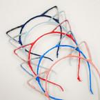 Trendy Bright Color Lace Cat Ear Headbands Rhinestone Edge  .54 each