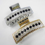 "3.5"" Gold & Silver Jaw Clips w/ Black Stones & Crystal Stones .54 each"