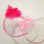 Satin Kid's Headband w/ Lace Bow & Pastel Beads .50 each