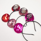 3-Color Sequin Mermaid  Change Color Mouse Ear Headbands  .54 each