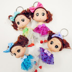 "5"" Cute Dressed Doll Keychains Asst Colors .54 each"