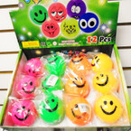 "2.5"" Happy Face Flashing Bouncing Balls w/ Squeak Sound 12 per pk .55 each"