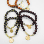 2 Pack Cross Wood Bead Bracelets w/ San Benito Charms .54 per set