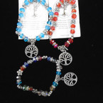 Colored Crystal Bead Stretch Bracelet w/ Tree of Life Charm .54 each