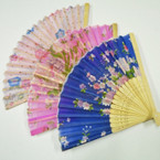 "8.5"" Decorative Flower Print Wood Handle Hand Fans .50 each"