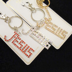 Gold & Silver JESUS Crystal Stone Keychains w/ Clip .54 each