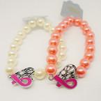 Pink & White Pearl Bracelet w/ Heart/Pink Ribbon Charm .54 each