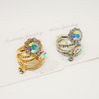 4 Pack Gold & Silver Crystal Stone Rings .54 per set of 4