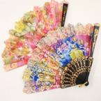 """9"""" Fashion Print Hand Fans w/ Gold Print  .54 each"""
