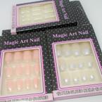 12 Pre-Glued French Manicure Fashion Nails w/ Glitter Tips .54 per pack