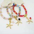 Asst Color Crystal Bead Bracelets w/ Gold Starfish Charm .54 each
