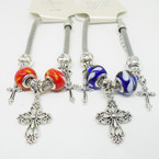 Pandora Style Silver Bracelets w/ Colored Bead & Cross Charms  .56 each