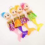 "6"" Asst Color Cute Mermaid Doll Keychains .54 each"