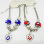 Pandora Style Bracelet w/ Red & Blue Eye Beads & Heart Charms .56 each