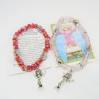 Crystal Beaded Baby Jesus Charm Bracelets Mixed Colors .54 each