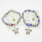 Silver Turtle & Crystal Beaded Bracelet w/ Turtle Charm .54 each