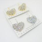 Gold & Silver Euro Wire Earrings w/ Crystal Stone Heart .54 each