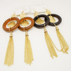 "4"" Gold Chain Fashion Earrings w/ Wood Loop .54 each"