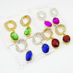 Gold & Silver  Crystal Stone Earrings w/ Gemstone Drop  .54 each