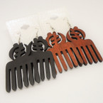 "3"" Wood Comb Style Earrings w/ Chinese Letter .54 each"
