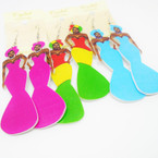 "3.5"" Mixed Color Fashion Lady in Long Dress Wood Earrings .50 each"