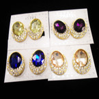 "Gold  Crystal Stone Earrings w/ Gemstone Center CLIP ON""S   .54 each"