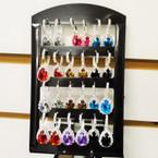 Rhinestone Euro Wire  Earrings w/ Pear Shaped Gemstone 12 pair display .54 ea