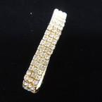 Triple Line  Gold Frame Rhinestone Stretch Bracelets Clear Stones .56 ea