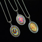 "18"" Fancy Silver Chain Necklace w/ Mixed Design Pendants as shown .54 each"