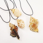 "16"" Leather Cord Necklace w/ Mixed Lightweight Conch Shell Pend. .56 each"