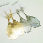 "3"" Gold & SIlver Lightweight Leaf Look Earrings .54 each"