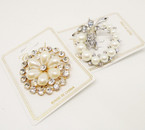 "1.75"" Gold  Broach w/ Clear Crystals & Pearls  .60 each"