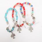 Crystal Stone Bead Bracelet w/ Tree of Life Charm w/ Stones .54 each
