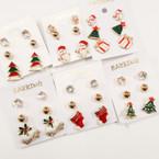 3 Pair Festive Christmas Earrings 11 dz pack .50 each set