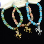 Crystal & Color Bead Stretch Bracelets w/ Gold & Silver Unicorn Charm .54 each