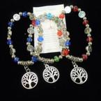 Crystal & Tree of Life  Bead Stretch Bracelets w/ Tree Charm .54 each