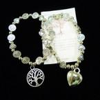 Tree of Life & Heart Bead Stretch Bracelets w/ Tree & Heart Charm .54 each