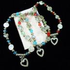 Tree of Life & Heart Bead Stretch Bracelets w/ Crystal Heart Charm .54 each
