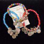 Crystal  Bead Stretch Bracelets w/ San Benito Silver Charms .54 each