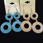 "2.5"" 2 Part Donut Style Crystal Stone Earrings .54 each"