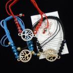 Macrame Bracelet w/ Crystal Stones & Stone Tree of Life Charm .54 each