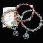 Crystal & Tree of Life  Bead Stretch Bracelets w/ Silver Tree Charm .54 each