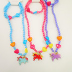 Kid's Unicorn & Heart Theme Necklace & Bracelet Set .54 each set