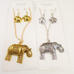 Gold & Silver Cast Elephant Necklace Set .54 per set