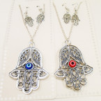 Silver Cast Metal Hamsa w/ Eye  Necklace Set .54 per set