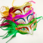 Handcrafted Asst Color Party Masks w/ Feathers  (882)  .54 ea