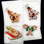 "2"" Gold/Silver Cast Christmas Broaches w/ Crystal Stones (149) .60 each"