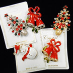 "2"" Gold/Silver Cast Christmas Broaches w/ Crystal Stones (150) .60 each"