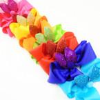 """5"""" Asst Color Gator Clip Bows w/ Glitter Bunny Ears & Pom Pom .54 each"""