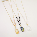 "24"" Gold Chain Necklace w/ Crystal Beads & Tear Drop Pendant .56 each"